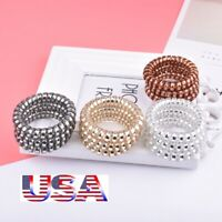 12Pcs Rubber Telephone Wire Hair Ties Spiral Slinky Hair Head Elastic Bands USA