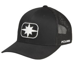 GENUINE POLARIS MENS BLACK WHITE ELLIPSE PATCH SNAPBACK TRUCKER LOGO HAT CAP