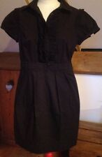 Black Oasis Dress/Size 12/Fitted Shirt Dress/Workwear/Ruffle Front