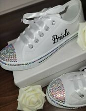 Personalised Wedding Pumps 'Converse Style' White Crystal Rhinestone Bling *New*