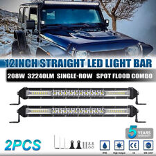 "2x 12"" inch Single Row 416W Led Light Bar Spot Flood Combo Offroad 4X4WD 10"" 14"""