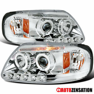 For 1997-2003 Ford F150 Expedition LED Halo Rims Projector Headlights Head Lamps