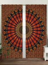 Peacock Mandala Cotton Handmade Twin Size Curtain Window Treatment Indian Art
