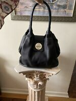 NICE VTG Kate Spade Turn Lock Pebbled Black Satchel Leather Shoulder Bag Purse