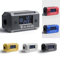 Water Cooling Flow Meter Digital Display Thermometer Indicator G1/4 DIY Fitting