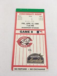 Jeff Bagwell HR #117 Home Run April 12 1996 4/12/96 Reds Astros Ticket Stub