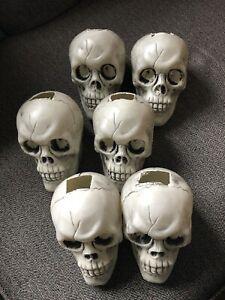 Plastic Skull Outdoor Halloween Decor Solar Light Covers Set Of 6