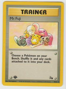 Tracking Pokemon Card 1st Edition Uncommon Fossil Mr. Fuji 58/62