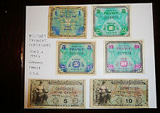 WWII 6 Lot Military Certificate Currency France Germany USA 1 2 5 10 w Box Frame