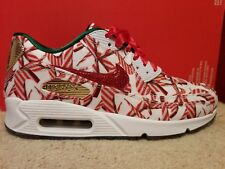 NIKE AIR MAX 90 QS Sz 8 White Red Christmas Candy Cane 813150-101 Womens Shoes