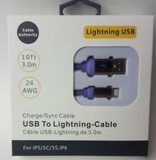 iPhone 5 6 7 8 USB Lightning Charger Cable iPad iPod Purple or Pink 10 Ft 3 Pack