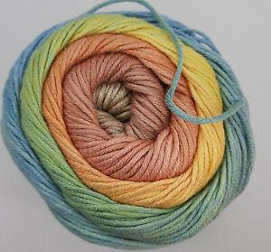 100 g LG GOMITOLO ALOHA, Fb.305, Farbverlauf sand/lachs/gelb/grün/bleu