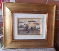 Quadro olio tela GUIDO BORELLI Paesaggio Borgo Case 13x18 cm Peinture