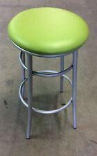 Sgabello medio per bar,cucin in metallo senza schienale seduta verde finta pelle