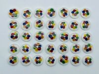 Vintage 1960's Multi Colored Floral Rainbow Sewing Plastic Sewing Button Lot