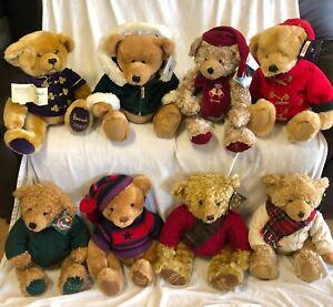"1998-2005 INCLUSIVE HARRODS CHRISTMAS TEDDY BEARS 8 BEARS WITH TAGS 18"" - 20"""