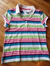 Girl's Tommy Hilfiger Polo Shirt White Multicolor striped T-shirt Size XL (16)