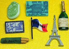 FRANCE - Eiffel Tower Champagne Flag Travel Dress It Up Novelty Craft Buttons