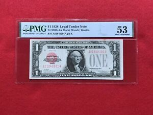 FR-1500 1928 Series $1 Red Seal US Legal Tender Note *PMG AU53 About Unc*