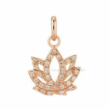 0.28 Ct. Diamond Pave Lotus Charm Fine Pendant 14k Rose Gold VS Clarity F Color
