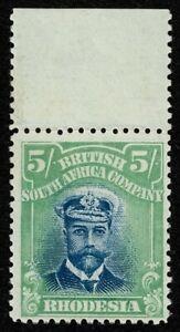 1913 Rhodesia Admiral SG 238 5/- Deep Blue & Dull Green COMET FLAW Cat. £170.00