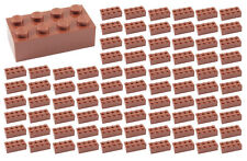 ☀️100 NEW LEGO 2x4 REDDISH BROWN Bricks (ID 3001) BULK Parts star wars city town