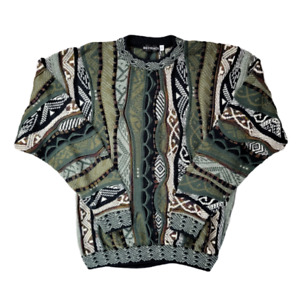 Rare Vintage 90's Coogi Style Sweatshirt Pullover Size Large Green Textured Knit