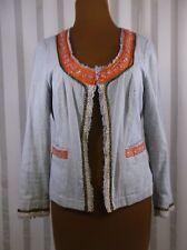 Free People Jacket Top size 8 Beading hook & eye pinstripe blue orange Boho