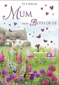Mother's Day Card - Mum From Both Of Us Cottage Garden - Glitter - Regal Quality