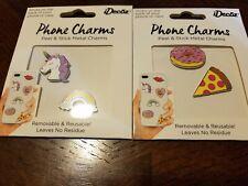 Idecoz Unicorn and Rainbow Peel & Stick Enamel Phone tablet Charms new lot of 2