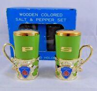 "Vintage Green Wooden ""Canada"" Souvenir Salt & Pepper Shakers set Gold Holders"