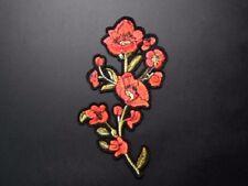 Flor de Hierro en parche bordado rojo/Apliques De Hierro/Coser Parche/Insignia