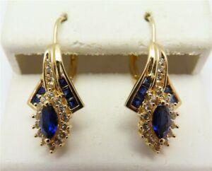 Sterling Silver Vermeil Blue & White Sapphire Zircon Accent Drop Earrings
