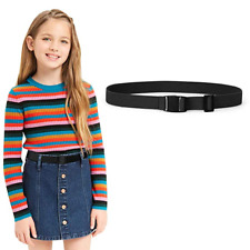 Fashion Girls Boys Elastic Thin Dress Belt Stretch Invisible Waist Strap No Hole