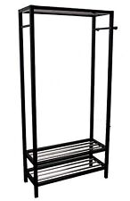 "Wooden 2 Tier Shoe Shelves Garment Rack Coat Hanger 65""X31.5""X13"" Black Finish"