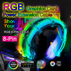 8-Pin RGB Power Extension Cable 300mm LED Luminous Addressable 5V RBW ATX DIY PC
