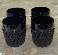 "Set Of 4 Vintage Indiana Glass ""Tiara Black Diamond Point"" Highball Tumbler 3.5"""