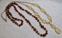 VINTAGE TO NOW YELLOW & AMBER COLOR LONG BEADED GOLD TONE CHAIN NECKLACE LOT