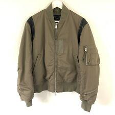 All Saints Khaki Military Army Style Leather Trim Heavy Thick Bomber Jacket, M