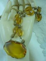 Estate Czech Amber Faceted Glass Pendant Necklace Gold Gilt Filigree Frame #1625