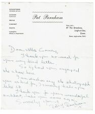 Patsy Parnham Theatre Actress Hand written & signed Letter