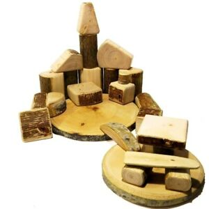 """Wooden construction set with bark """"Forest kingdom"""" 25 pieces"""