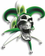 Vinyl sticker/decal Small 90mm jester laughing skull green - facing right