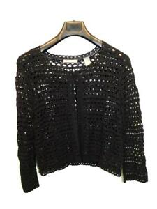 Liz Claiborne L Black Cardigan Sweater Crochet Cotton One Top Button Cropped Lg