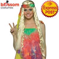 W840 Blonde Groovy Wigs Costume Daisy Headband 1960s Hippy Hippie Wig 60s 70s