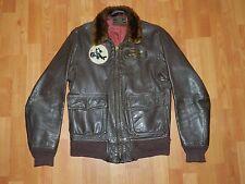 Vtg RARE Painted Bomber H&L Block An6552 Leather Flight Aviators jacket 38