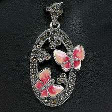 Sterling Silver Genuine Natural Marcasite & Enamel Butterfly Pendant