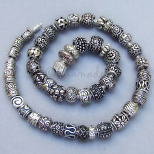 50PCs Wholesale Silver Spacer European Beads For Large Hole Charm Bracelets
