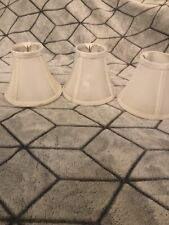 """Set of 3 Clip On 5"""" Small Bell Candelabra Shades for Chandelier (White) Used"""