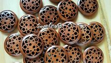 10pcs Decorative Brown Wood Wooden Carved Round Buttons RUSTIC Vintage